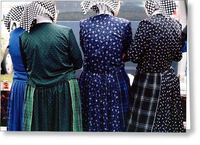 Hutterite Women At The Market Greeting Card