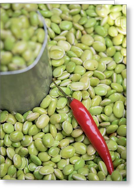 Hyacinth Beans And Red Chili Pepper Greeting Card