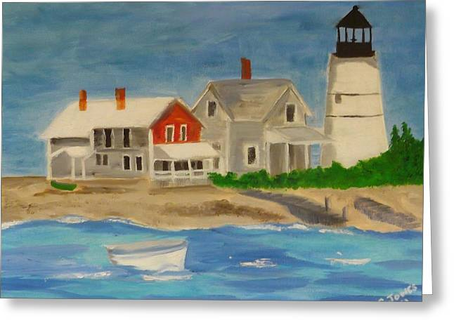 Hyannis Lighthouse Greeting Card by Sally Jones