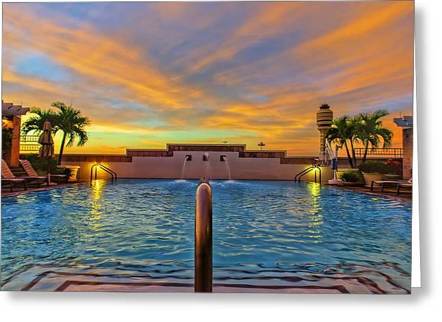 Hyatt Morning Pool Greeting Card by Bill Tiepelman