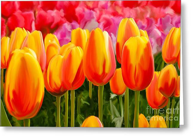 Greeting Card featuring the painting Hybrid Tulips by Tim Gilliland