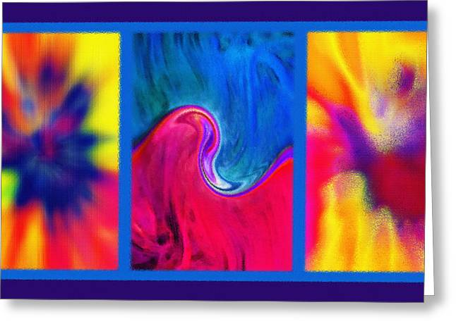 Hychilu Abstracts Triptych Greeting Card by Steve Ohlsen