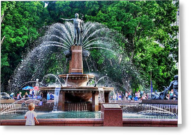 Hyde Park Fountain Greeting Card by Kaye Menner