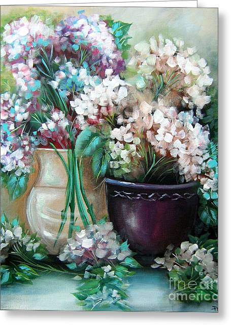 Greeting Card featuring the painting Hydrangea Melody by Patrice Torrillo