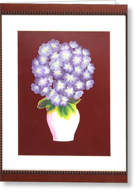 Greeting Card featuring the painting Hydrangea by Ron Davidson