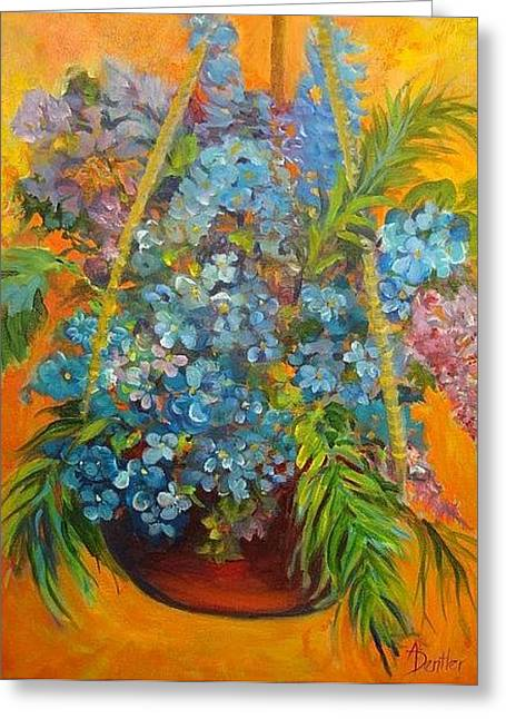 Greeting Card featuring the painting Hydrangeas by AnnE Dentler
