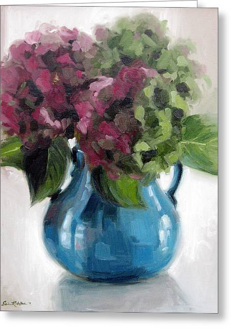 Hydrangeas In Blue Vase Greeting Card