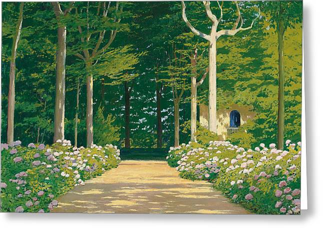 Hydrangeas On A Garden Path Greeting Card