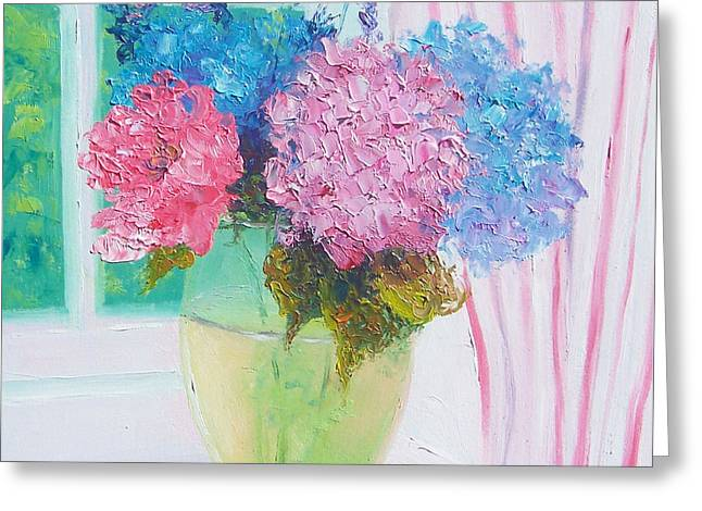 Hydrangeas On A Windowsill Greeting Card