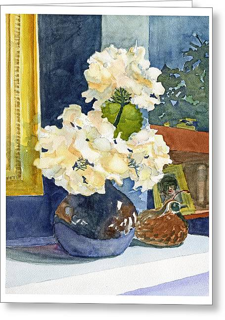 Hydrangeas On Mantle Greeting Card