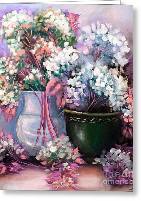 Greeting Card featuring the painting Hydrangeas Still Life Pink by Patrice Torrillo
