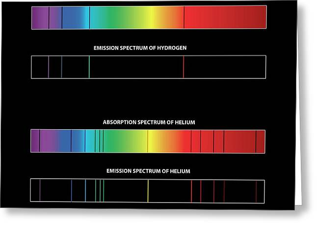 Hydrogen And Helium Spectra Greeting Card by Carlos Clarivan