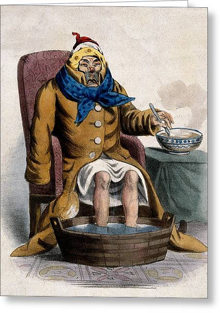 Hydrotherapy, Cure Of Common Cold, 1833 Greeting Card