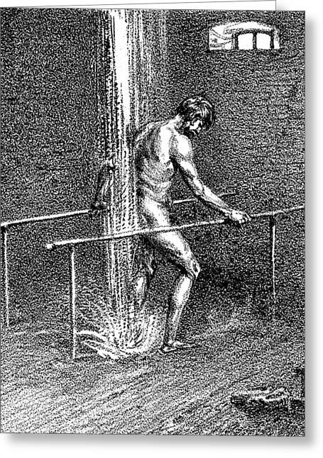 Hydrotherapy, Shower, 1860s Greeting Card