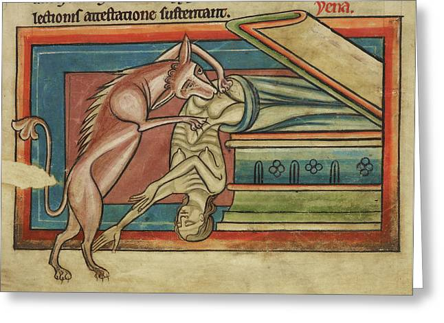 Hyena Robbing A Tomb Greeting Card by British Library