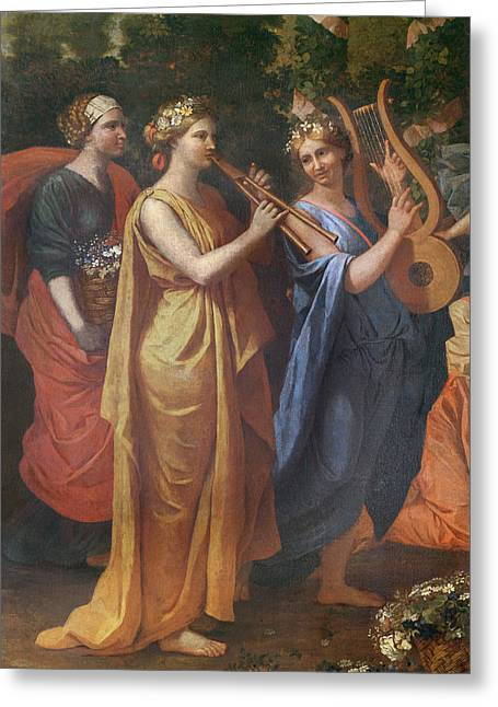 Hymenaios Disguised As A Woman During An Offering To Priapus, Detail Of The Musicians, C.1634-38 Greeting Card by Nicolas Poussin