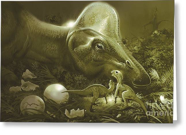 Hypacrosaurus Protecting Its Nest Greeting Card by Jan Sovak