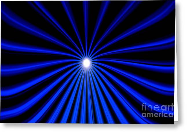 Greeting Card featuring the painting Hyperspace Blue Landscape by Pet Serrano
