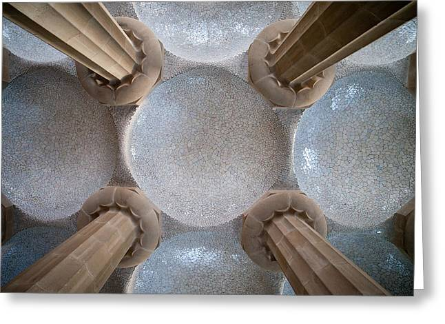Hypostyle Room Ceiling In Park Guell Greeting Card by Artur Bogacki