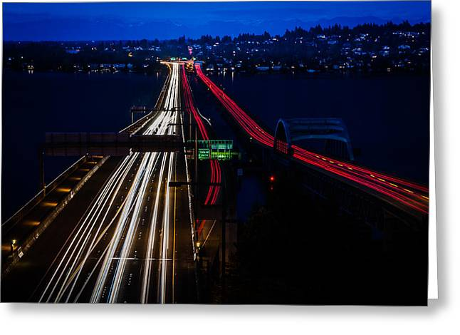 I-90 Light Speed Travelers Greeting Card by Brian Xavier