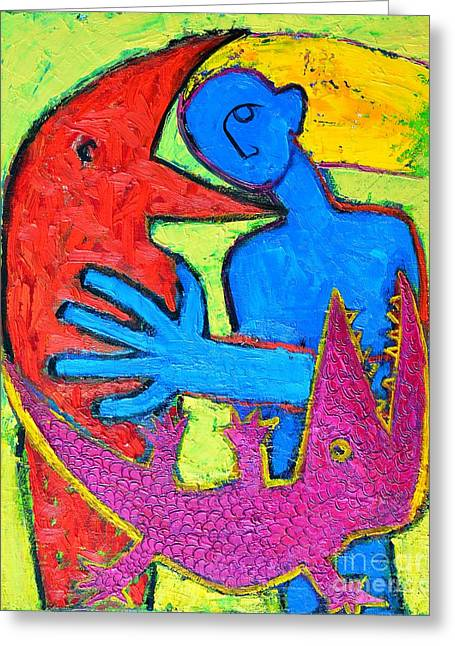 I Am Blue But Still Alive Do Not Eat Me Greeting Card by Ana Maria Edulescu