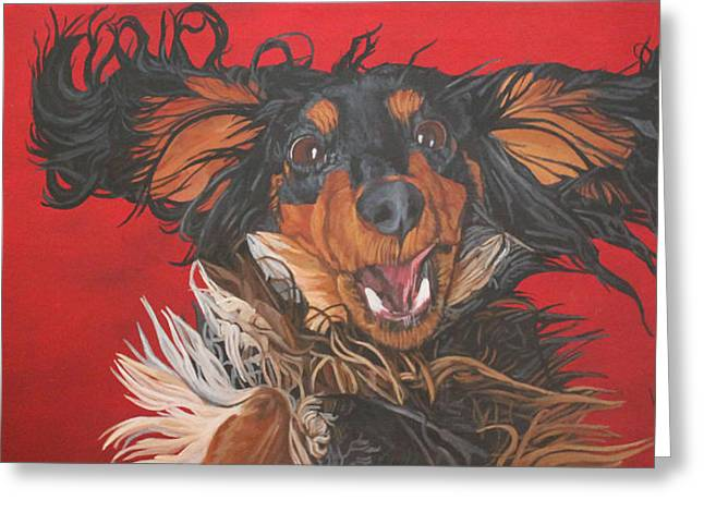 Greeting Card featuring the painting I Am Sooooooo Happy To See You by Wendy Shoults