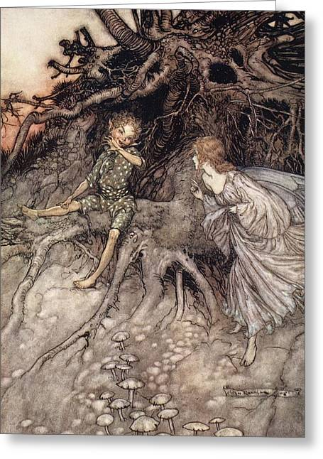 I Am That Merry Wanderer Of The Night Greeting Card by Arthur Rackham