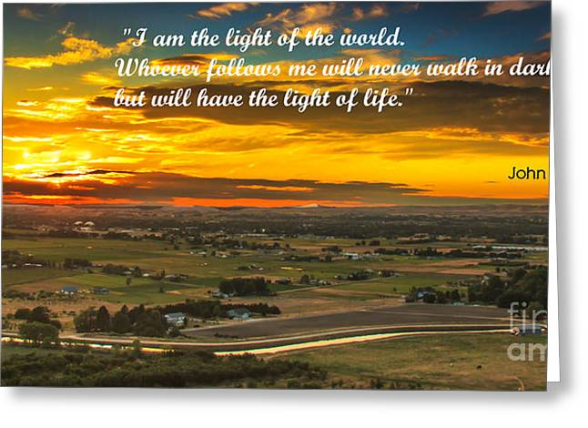 I Am The Light Greeting Card by Robert Bales