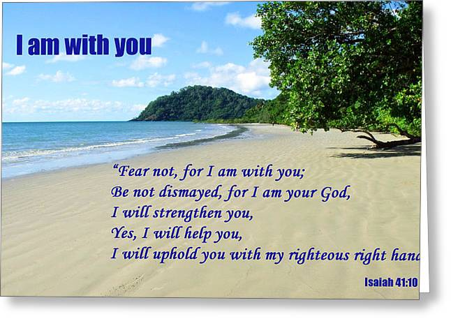 I Am With You Beach Scene Greeting Card