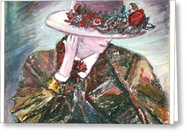 Greeting Card featuring the painting I Borrowed My Mother's Hat by Helena Bebirian