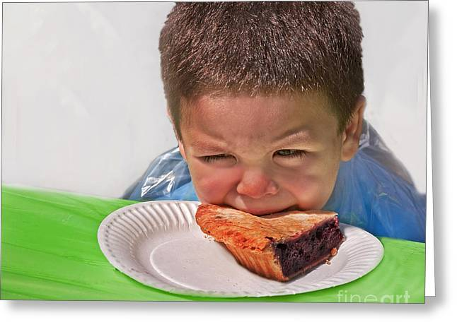 I Don't Want To - Pie Eating Contest Art Prints Greeting Card by Valerie Garner