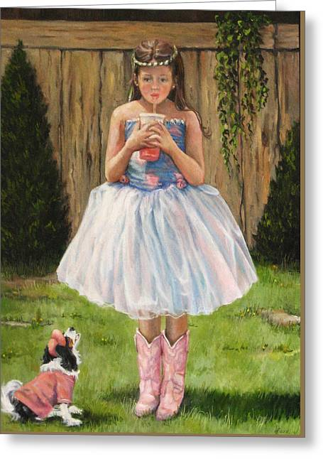 Greeting Card featuring the painting I Dressed Myself by Donna Tucker