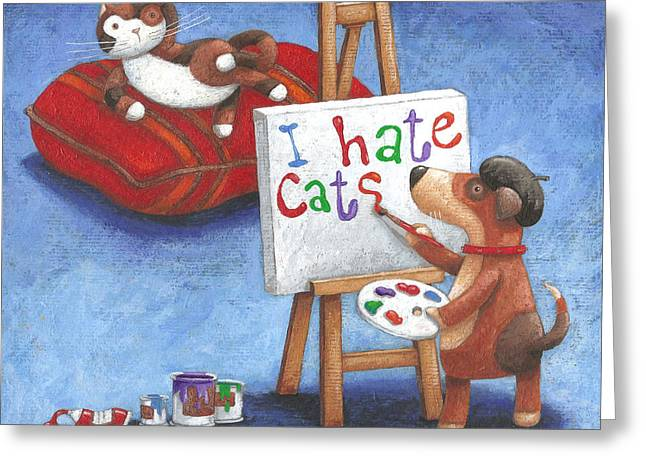 I Hate Cats Greeting Card by Peter Adderley