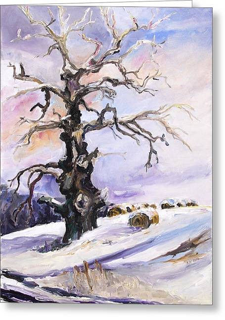 I Have Got Stories To Tell Old Oak Tree In Mecklenburg Germany Greeting Card by Barbara Pommerenke