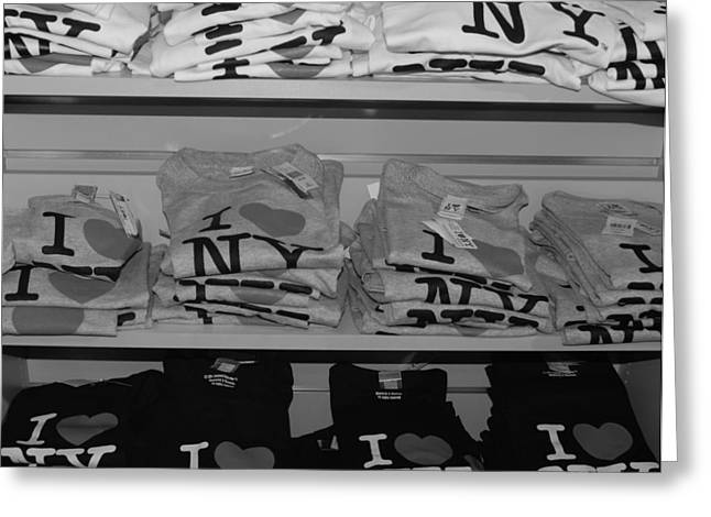 I Heart Ny In Black And White Greeting Card by Rob Hans