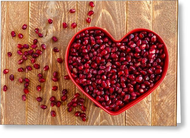 I Heart Pomegranates Greeting Card by Teri Virbickis