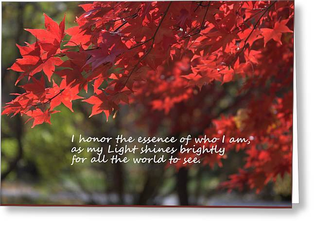I Honor The Essence Of Who I Am Greeting Card by Patrice Zinck