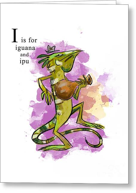 I Is For Iguana Greeting Card by Sean Hagan