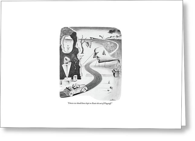 I Knew We Should Have Kept On Route 66 Greeting Card by Sam Cobean