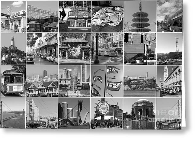 I Left My Heart In San Francisco 20150103 Horzontal Bw Greeting Card by Wingsdomain Art and Photography