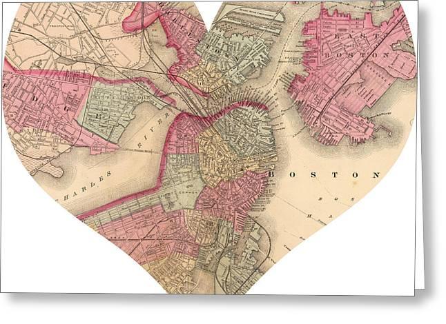 I Love Boston Heart Map Greeting Card