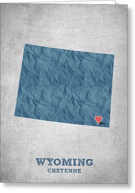 I Love Cheyenne Wyoming - Blue Greeting Card by Aged Pixel
