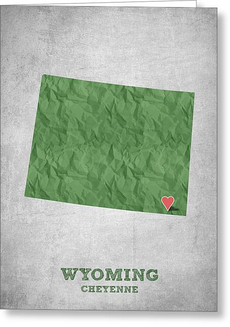 I Love Cheyenne Wyoming - Green Greeting Card by Aged Pixel