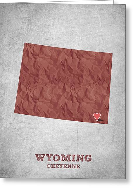 I Love Cheyenne Wyoming - Red Greeting Card by Aged Pixel