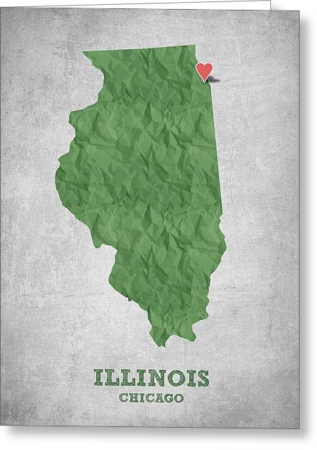I Love Chicago Illinois - Green Greeting Card by Aged Pixel