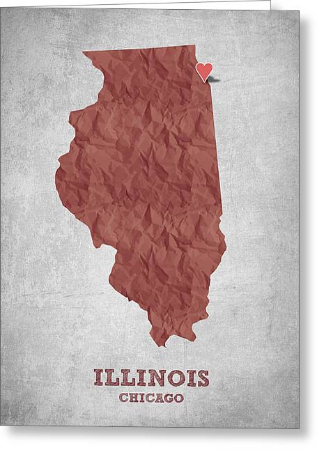 I Love Chicago Illinois - Red Greeting Card by Aged Pixel