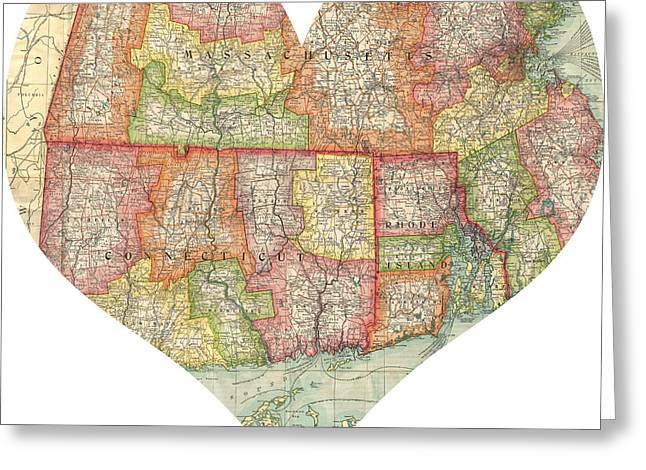 I Love Conneticut Rhode Island And Massachusetts Heart Map Greeting Card