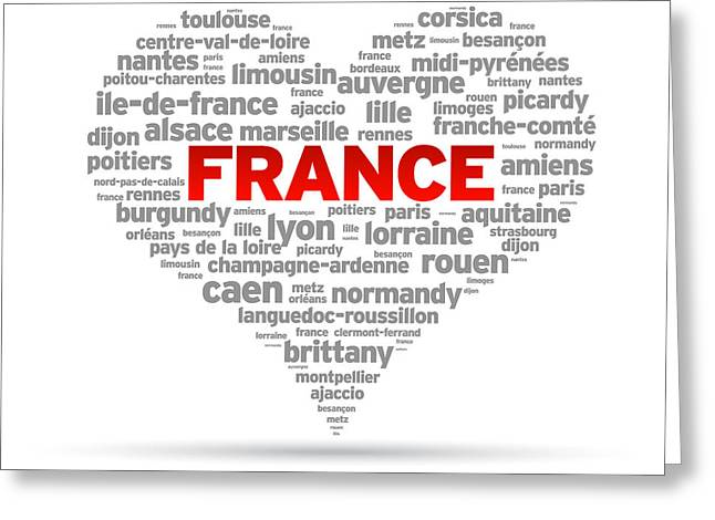 I Love France Greeting Card by Aged Pixel