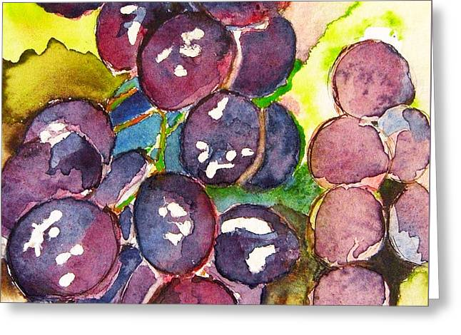 I Love Grapes .... Greeting Card by Jacqueline Schreiber