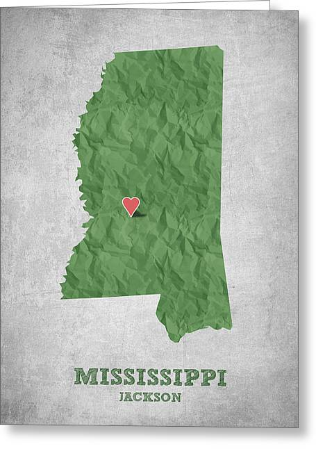 I Love Jackson Mississippi - Green Greeting Card by Aged Pixel